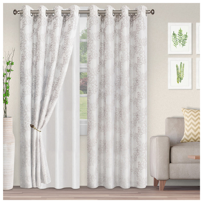 Foliage Embroidered Leaves Sheer Grommet Panel 2-Piece Curtain Set