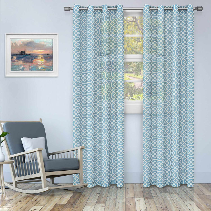 Honeycomb Diffused Light Printed Semi-Sheer Curtain Set