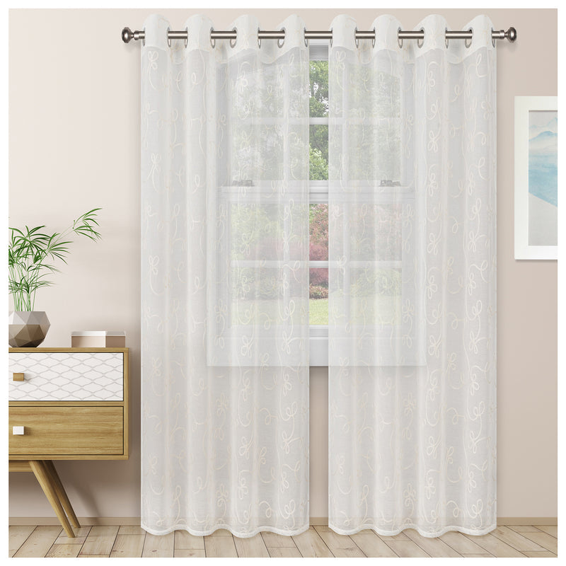 SCROLL 2 PANELS SHEER CURTAINS