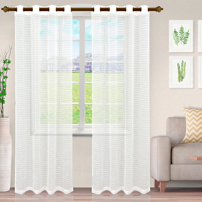 Jackson Stripe Soft Diffused Light Airy Lightweight Sheer Curtain Set