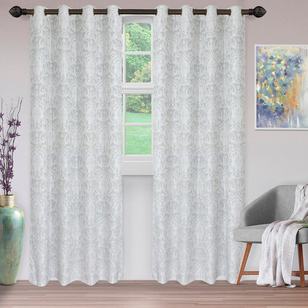 Superior Lotus Jacquard Curtain Set, Raindrop