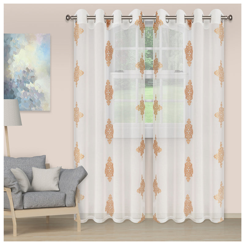 SUPERIOR DAMASK 2 PANELS SHEER CURTAINS