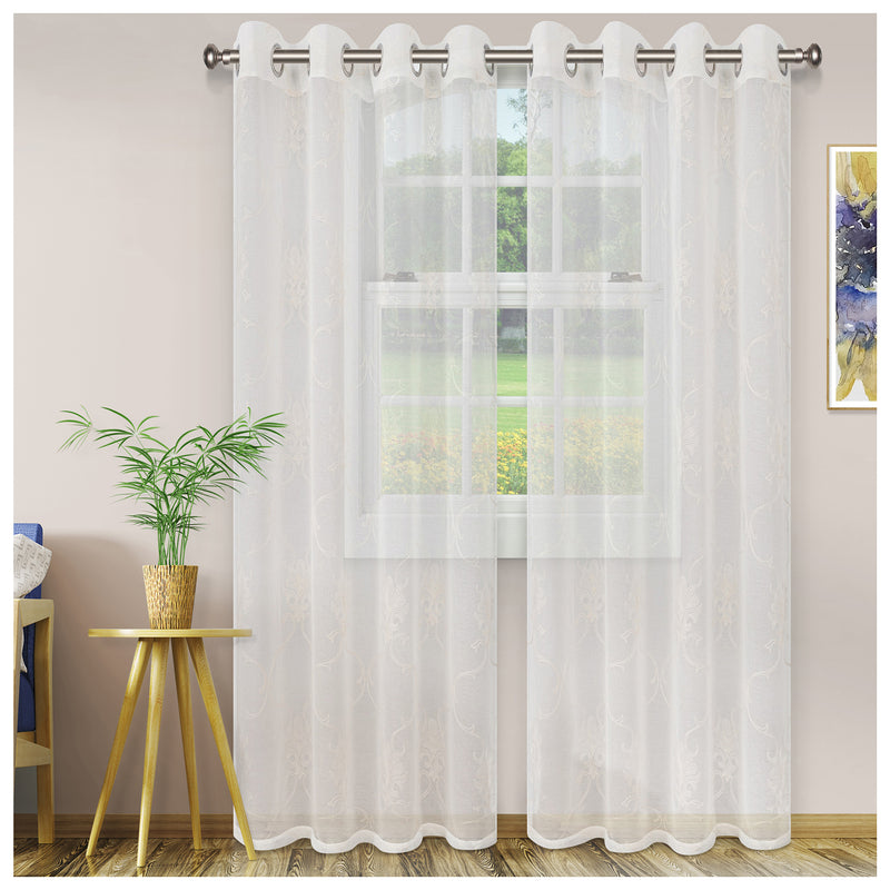 ELEGANT SCROLL 2 PANELS SHEER CURTAINS
