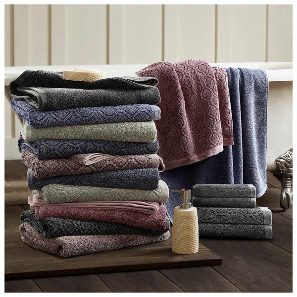 100% Cotton Denim Wash 6PC Jacquard and Solid Towel Set