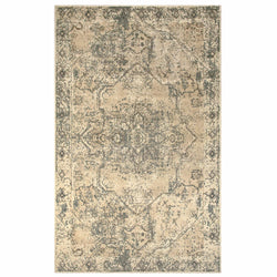 Amaris Distressed Medallion with Border Ivory Area Rug