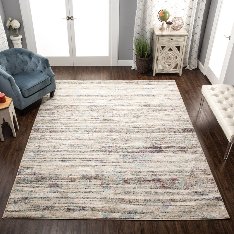 Jharna Modern Abstract Distressed Ivory Rug