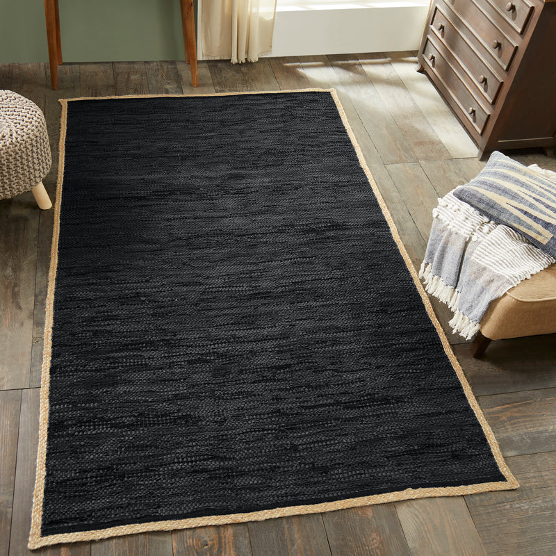 Superior Hand-Woven Kerani Leather, Cotton, and Jute Area Rug