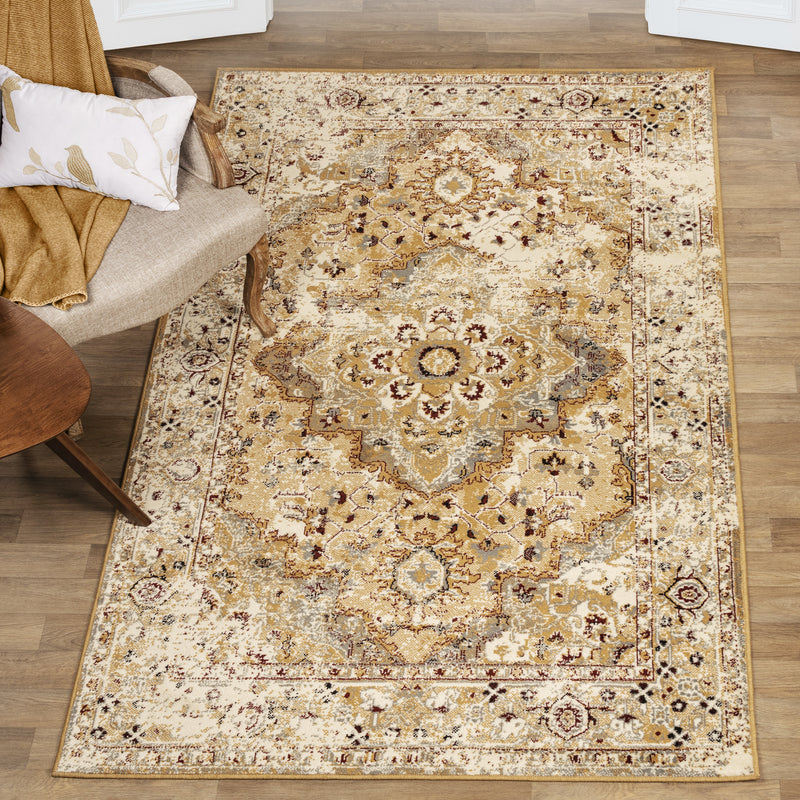 Nysa Area Rug, Oriental Pattern, Bohemian, Jute Backing