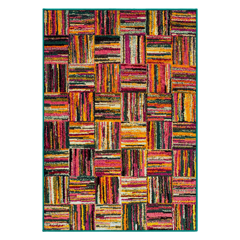Twila Area Rug, Patchwork Style, Rainbow Cookies Design
