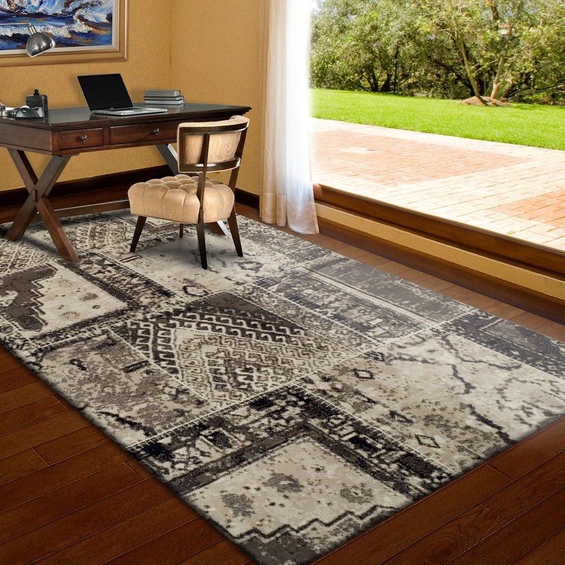 Parquet Contemporary Tribal Patchwork Distressed Rug