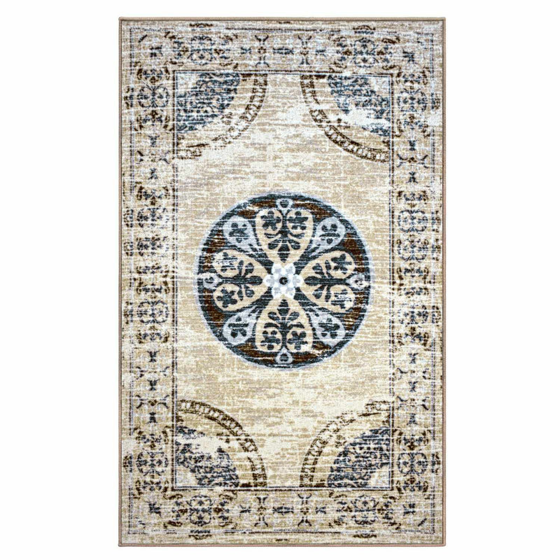 Shiloh Non-Slip Foldable Distressed Medallion Nylon Rug
