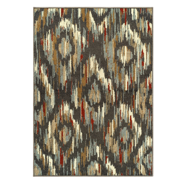 Solitaire Indoor Area Rug, Ikat Pattern, Traditional, Jute Backing