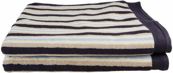 Ultrona 100% Combed Cotton Bath Towels, Stripes, 2-Pieces