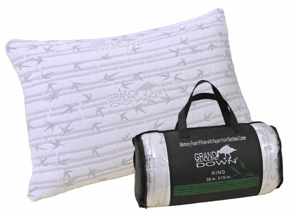Bamboo Bed Pillow Shredded Memory Foam, Premium Quality, With CARRY BAG