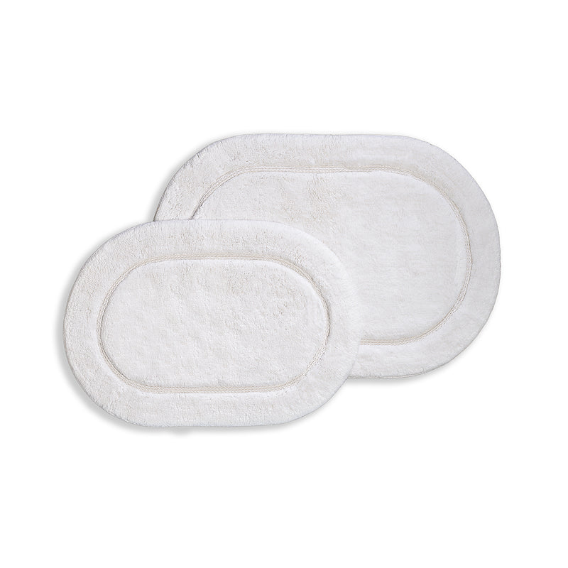 Oval 100% Combed Cotton Non-Skid 2-Piece Bath Rug Set