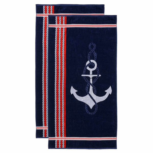 Oversized Jacquard Long-Staple Cotton Beach Towel, Anchor