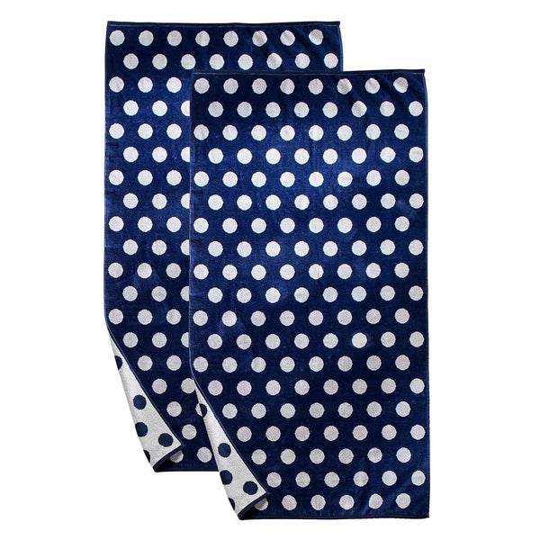 Oversized Jacquard Long-Staple Cotton Beach Towel, Blue Polka Dots