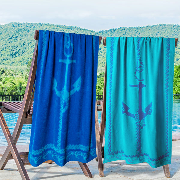 100% Cotton Fisherman Anchor (set of 2) Oversized Beach Towel - Blue