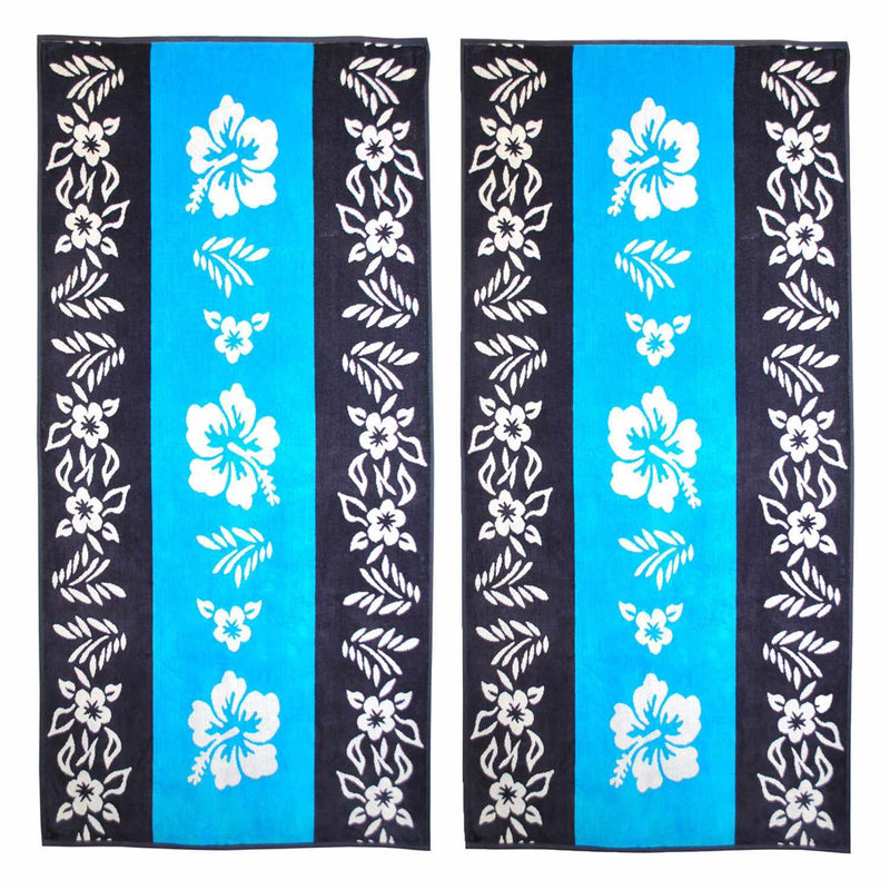 Hibiscus 100% Combed Cotton Oversized Beach Towel, Blue