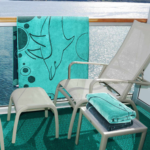 100% Cotton Mystic Dolphin (set of 2) Oversized Beach Towel - Teal