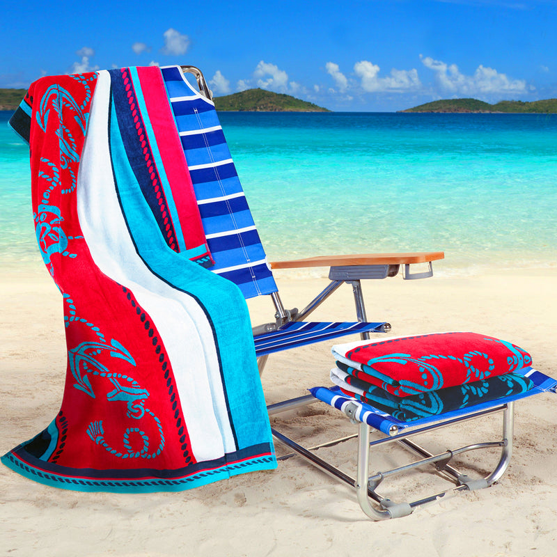 Sailing Egyptian Cotton Oversized Beach Towel Set, 2-Pieces