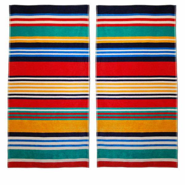 "Southwind Beach Towel, 100% Cotton, Stripes, Oversized, 34"" x 64"""
