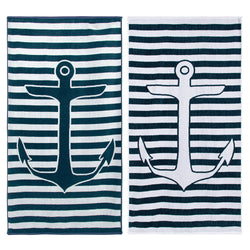 Superior 100% Cotton Yacht Club (set of 2) Beach Towel - Navy Blue/White