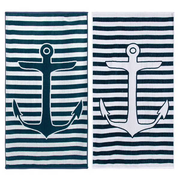 100% Cotton Yacht Club (set of 2) Beach Towel - Navy Blue/White