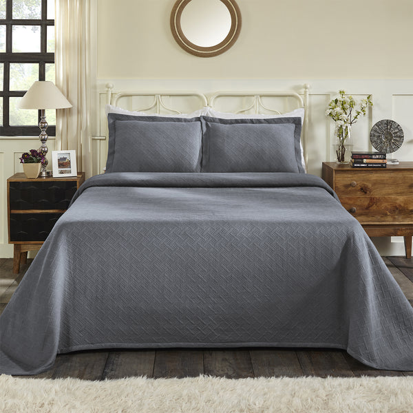 Superior 100% Cotton Basket Matelasse King Bedspread