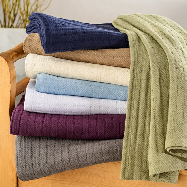 BASKET WEAVE Blanket, 100% Cotton, Comfy For All Season, 8 Colors