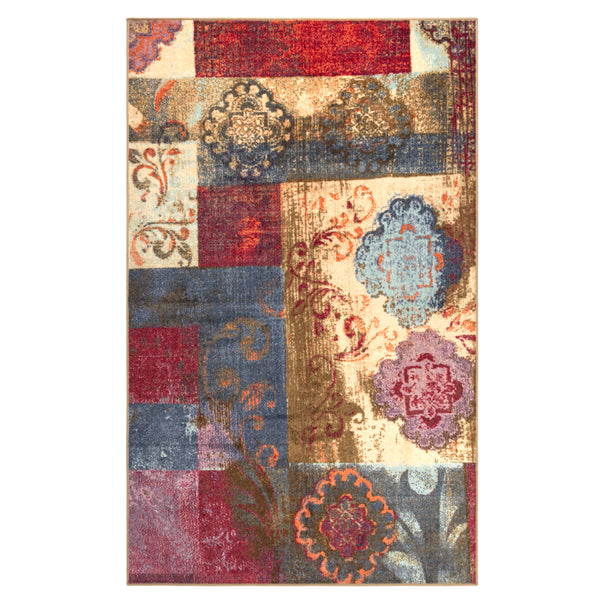 Emory Area Rug, Patchwork Pattern, Floral, Medallion, Distressed