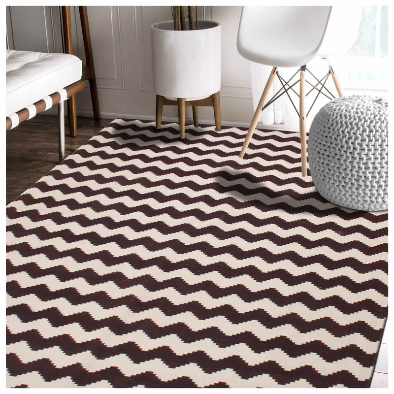 Chevron Zig-Zag Wavy 100% Cotton Printed Rug
