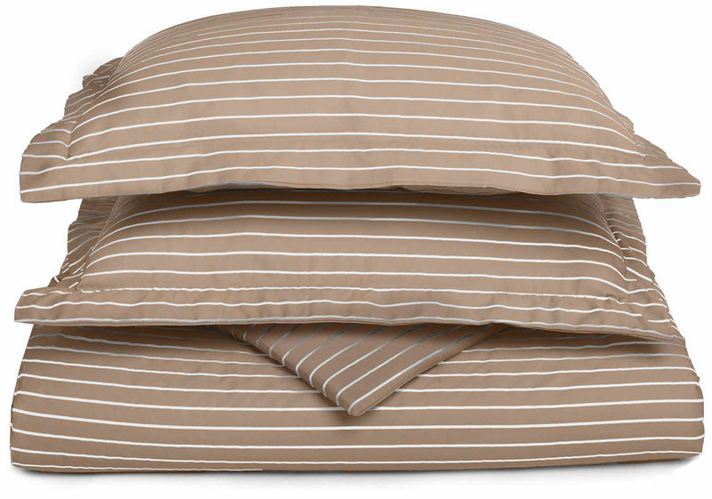 Striped Bahama 600-Thread-Count Duvet Cover Set With Shams, Cotton Rich,8 Colors