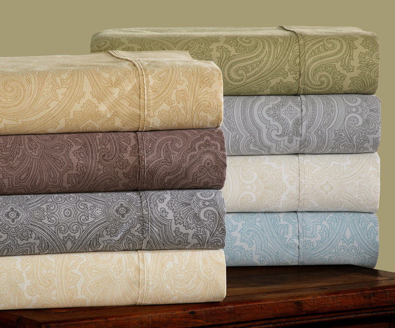 Decorative Italian Paisley Cotton-Rich Sheet Set