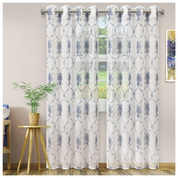 SUPERIOR ELEGANT SCROLL 2 PANELS SHEER CURTAINS