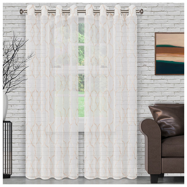 SUPERIOR LATTICE 2 PANELS SHEER CURTAINS