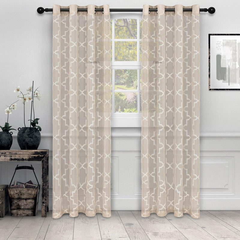 Quatrefoil Diffused Light Printed Semi-Sheer Curtain Set