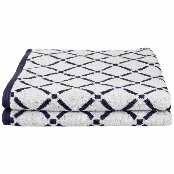 Decorative Diamond 2-Piece Cotton Bath Sheet Set