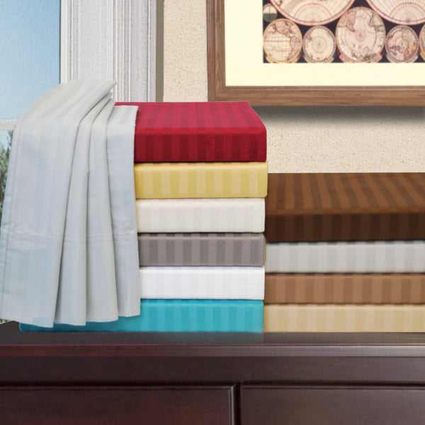 Premium Striped 650 Thread Count Egyptian Cotton Sheet Set