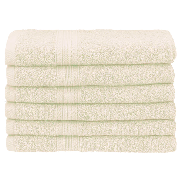 Vitally Eco-Friendly Hand Towels, 100% Cotton, Ring-Spun, 6-Pieces