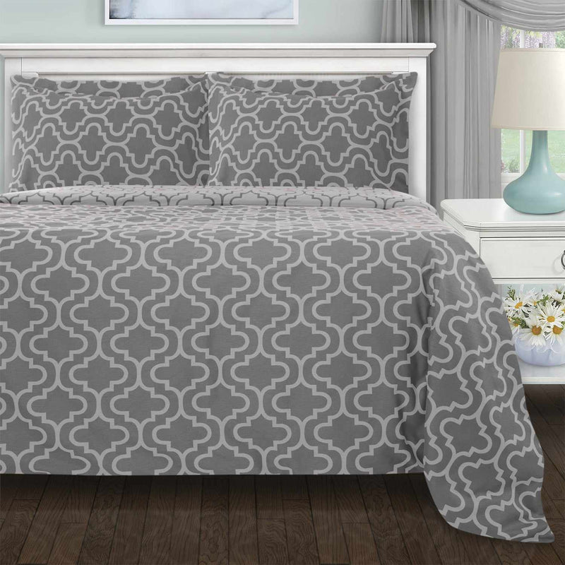 Cotton Flannel Trellis or Solid Duvet Cover Set