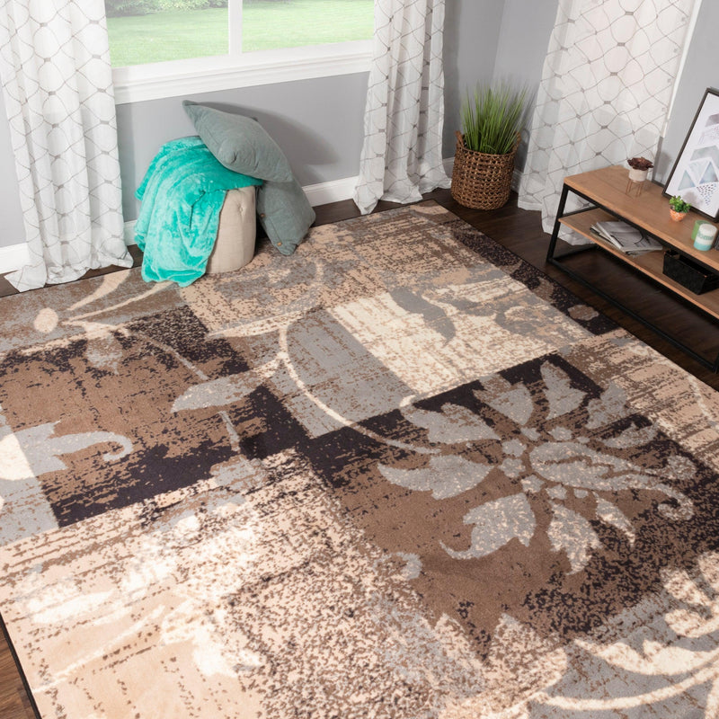 Pastiche Non-Slip Foldable Floral Patchwork Area Rug