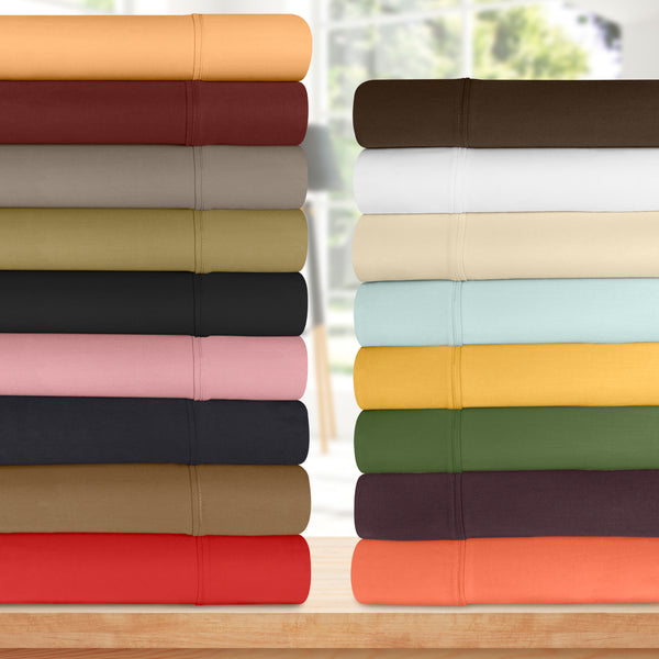 100% Egyptian Cotton Sheet Set With Deep Pocket, 300-Thread-Count, 19 Colors