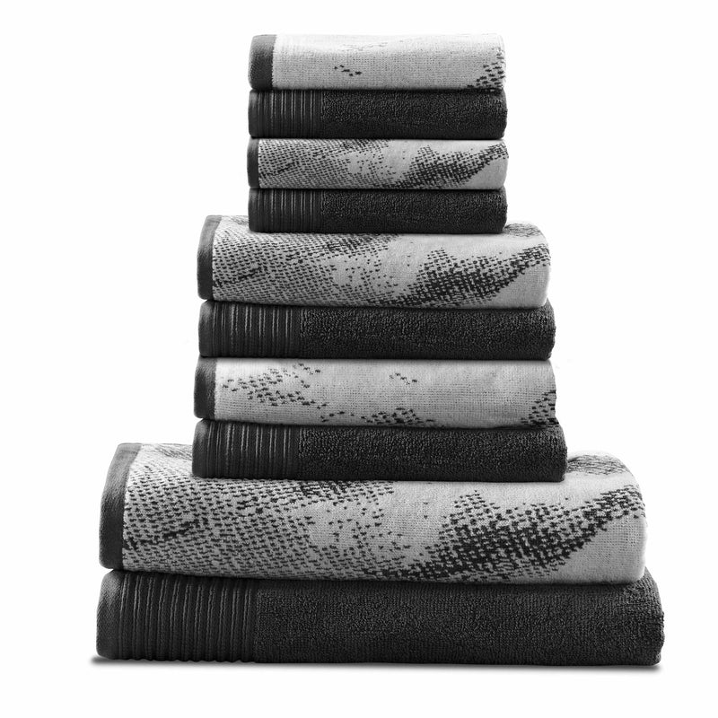 Marble Effect 100% Combed Cotton 500 GSM 10-Piece Towel Set, 2 Bath, 4 Hand, and 4 Face