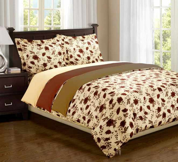 Elm Leaf Duvet Cover Set With Shams, Wrinkle Free Microfiber, 3 Colors