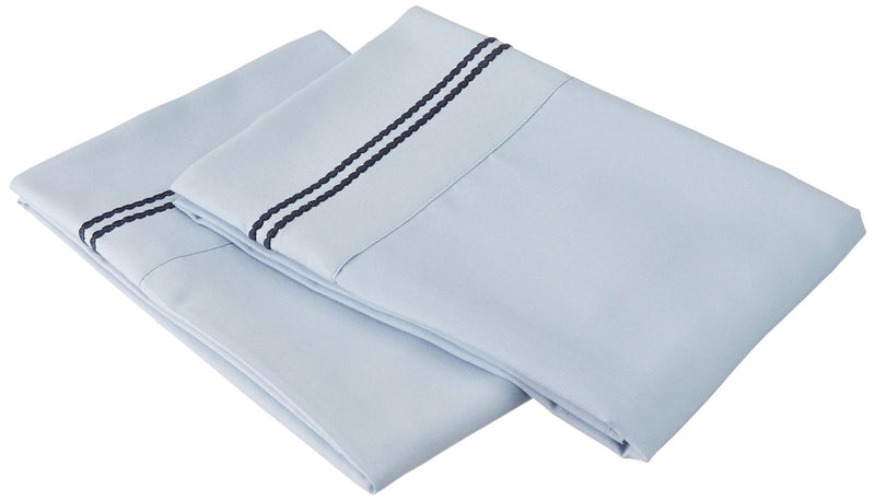 Embroidered 3 LINES Pillowcases, 2-Piece, Wrinkle Free Microfiber, 13 Colors