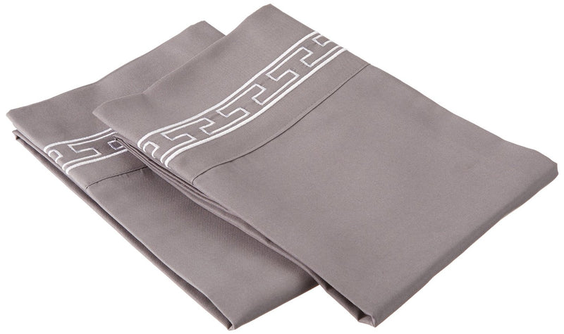 Pillowcases Microfiber,Embroidered REGAL Design, 2-Piece Set Covers, 15 Colors