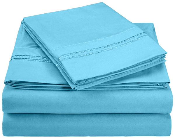 Wrinkle-Resistant 2-Line Embroidery Microfiber Sheet Set