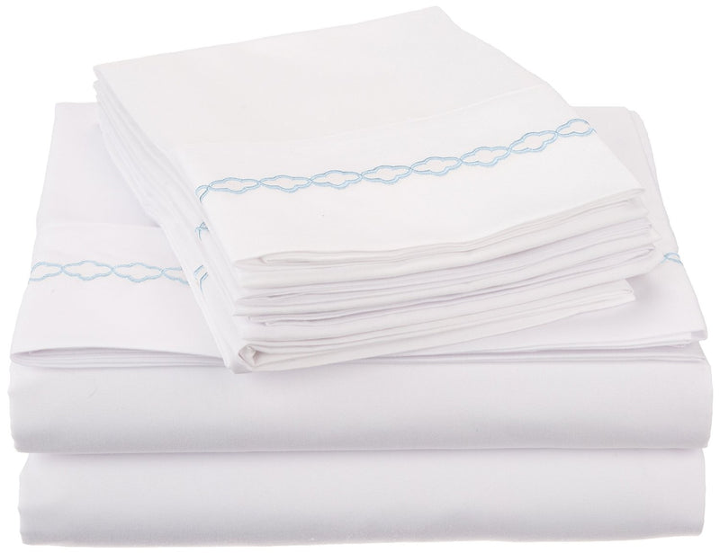 Decorative Cloud-Embroidered Microfiber Sheet Set