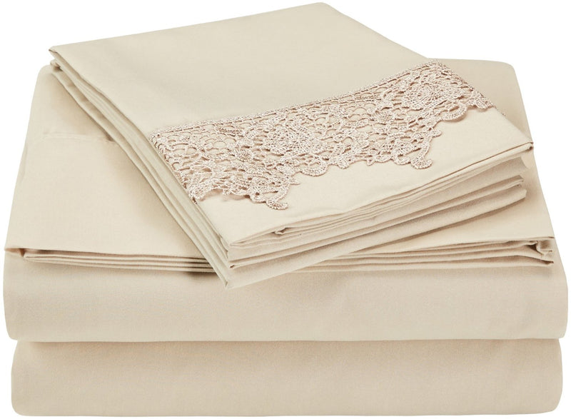 3000 Series Wrinkle Resistant Elegant Lace Sheet Set